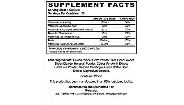 Rejuvalex Ingredients